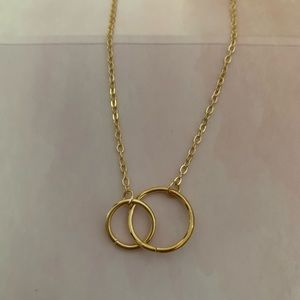 Gold double circle necklace